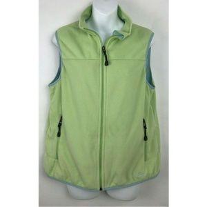 Vintage LL Bean Green Blue Fleece Sleeveless Full